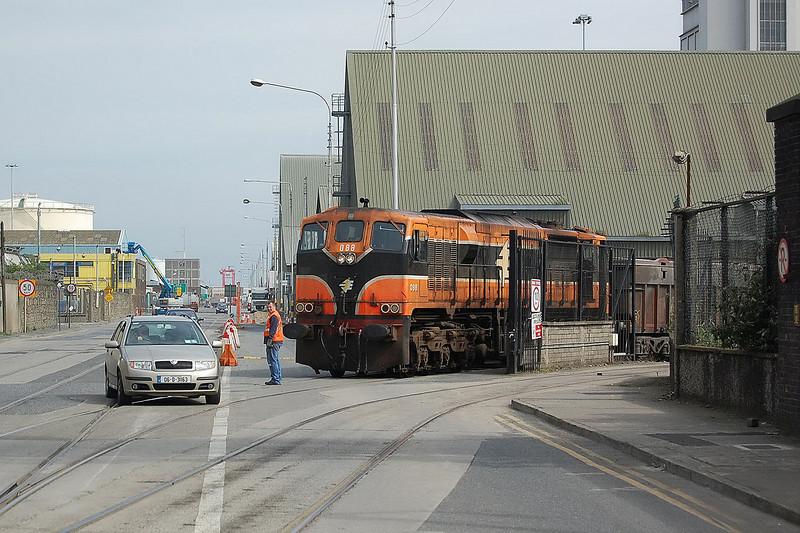 Iarnród Éireann 071-Class no.088 about to enter Alexandra Road tramway in Dublin Docks on its return to the Tara Mines near Navan, County Meath.