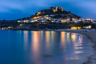 Acropolis of Lindos at Dusk