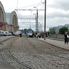 Rail de tramway vetuste devant le marché central