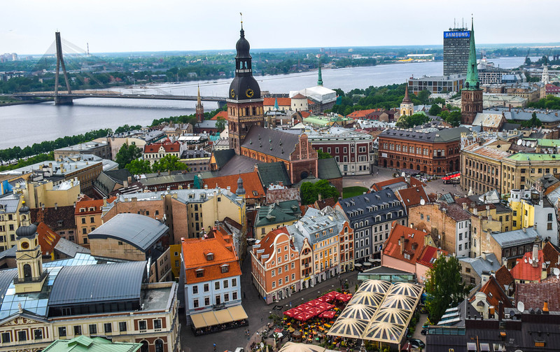 Beautiful view over Riga from St. Peter's Church