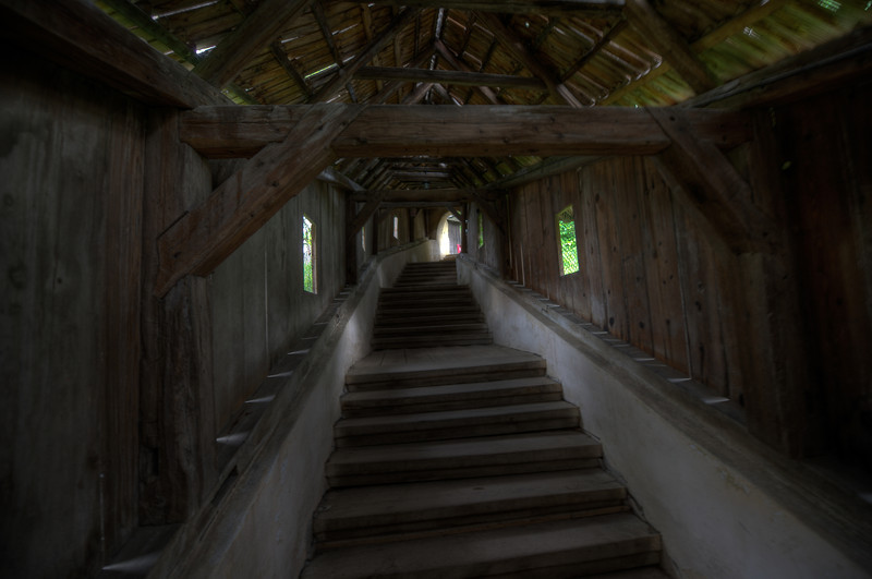 Wooden stairs inside Calnic Fortified Church in Transylvannia, Romania
