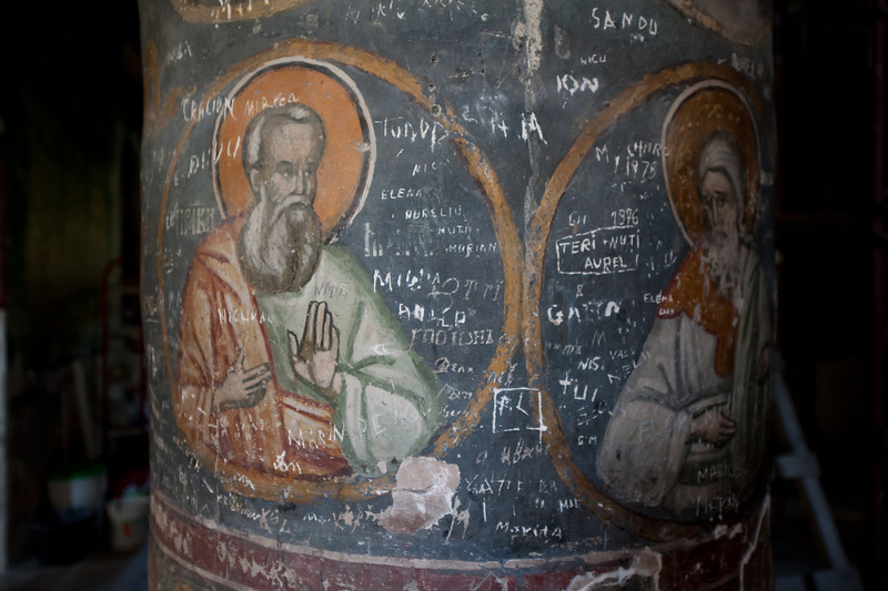 Religious mural painting in St. George's Church in Bucharest, Romania