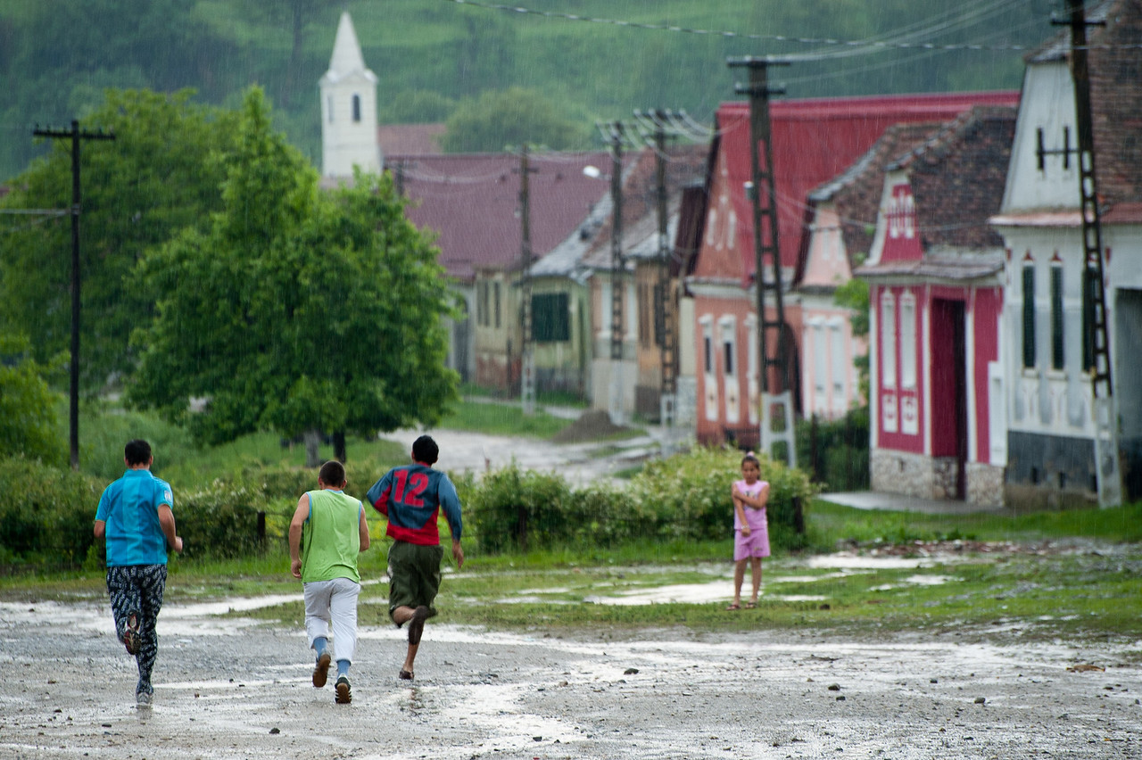 Children Playing in Calnic, Transylvania, Romania