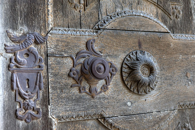 Carvings on a wooden door - Transylvannia, Romania