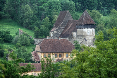 View of the Calnic Fortified Church from afar - Transylvannia, Romania