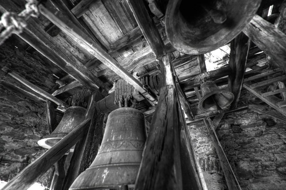 Bells in a village church steeple, Romania