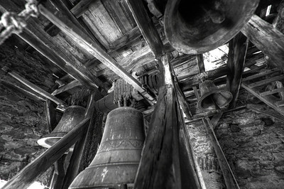 Bells in Calnic Fortified Church in B&W - Transylvannia, Romania