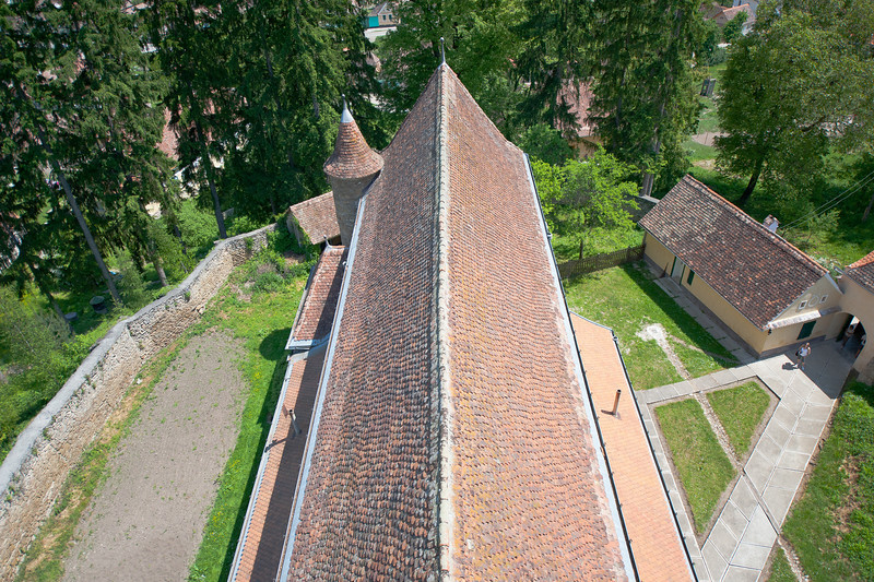 View of the roof of Calnic Fortified Church from the tower - Transylvannia, Romania