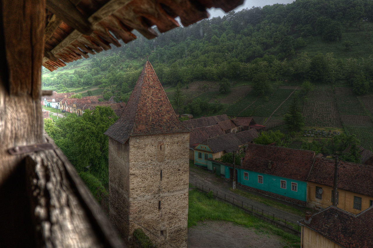 The tower and houses at village of Calnic in Romania
