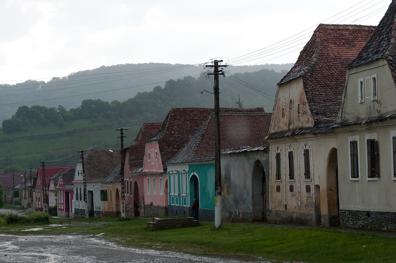 Row of colorful houses in Calnic, Transylvannia, Romania