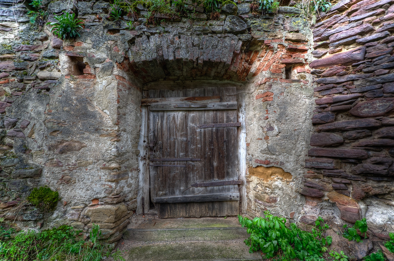 Wooden door to the Calnic Fortified Church in Transylvannia, Romania
