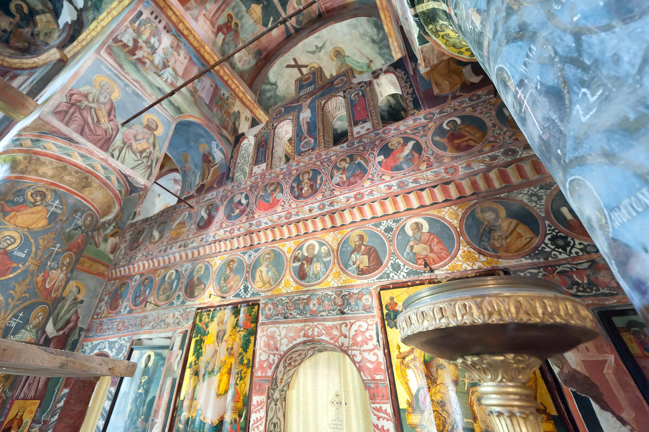 Mural religious paintings on church St.George Church, Bucharest, Romania