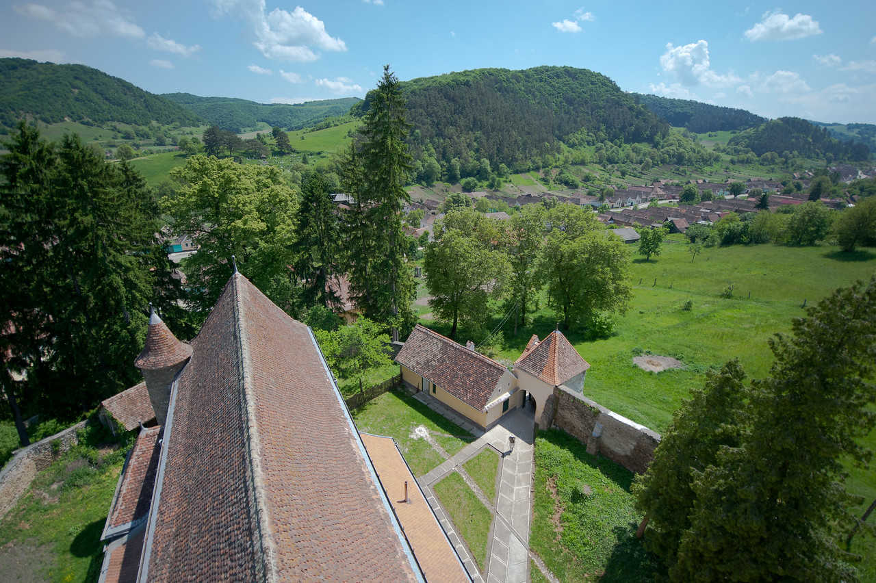 View from the tower of Calnic Fortified Church in Transylvannia, Romania