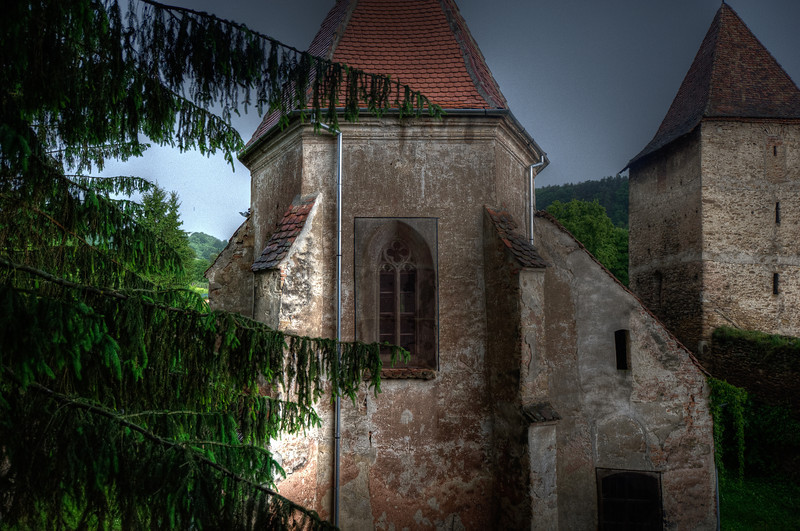 One of the towers at Calnic Fortified Church in Calnic, Romania