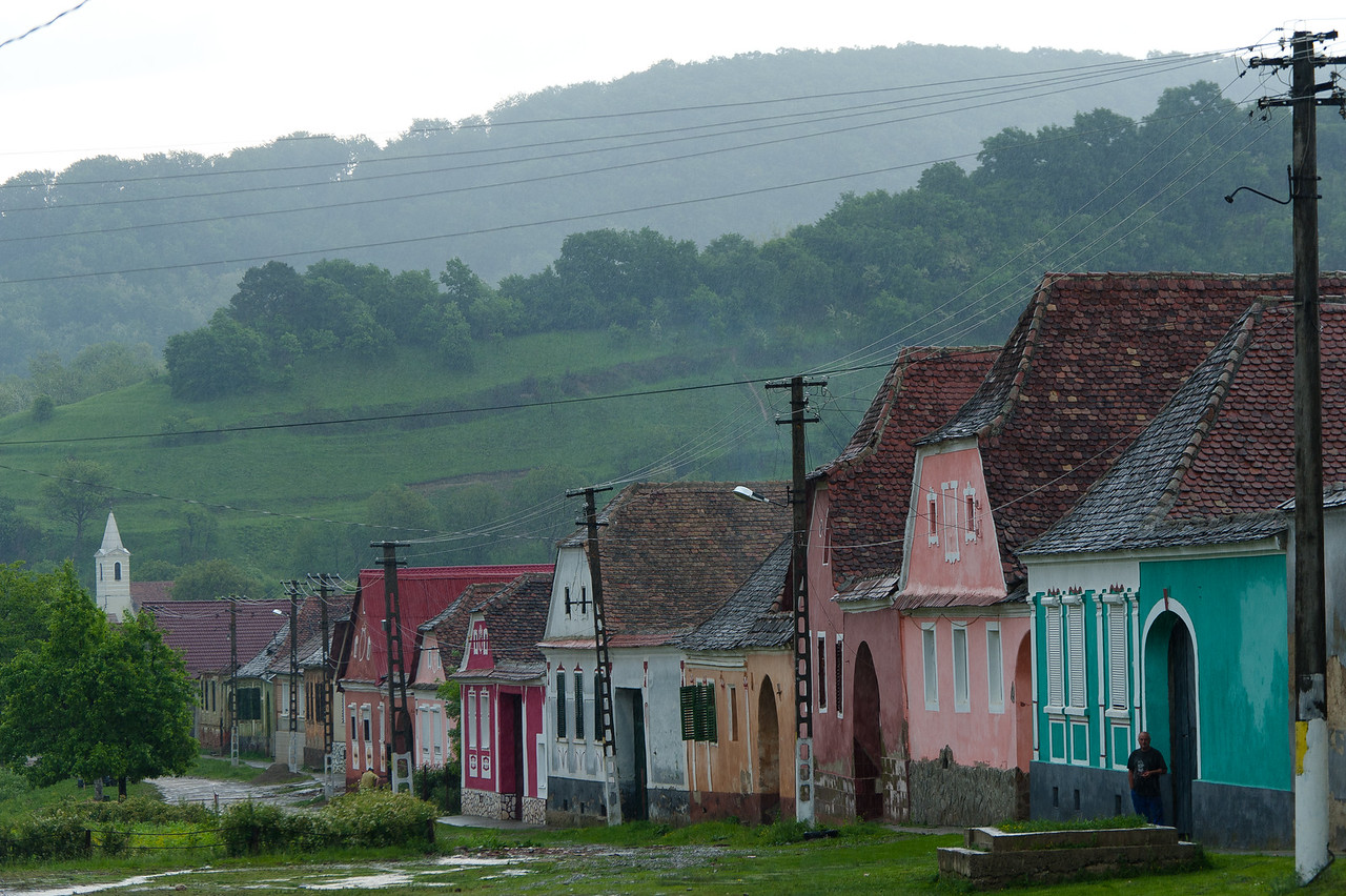 Rows of colorful houses in Calnic, Transylvannia, Romania