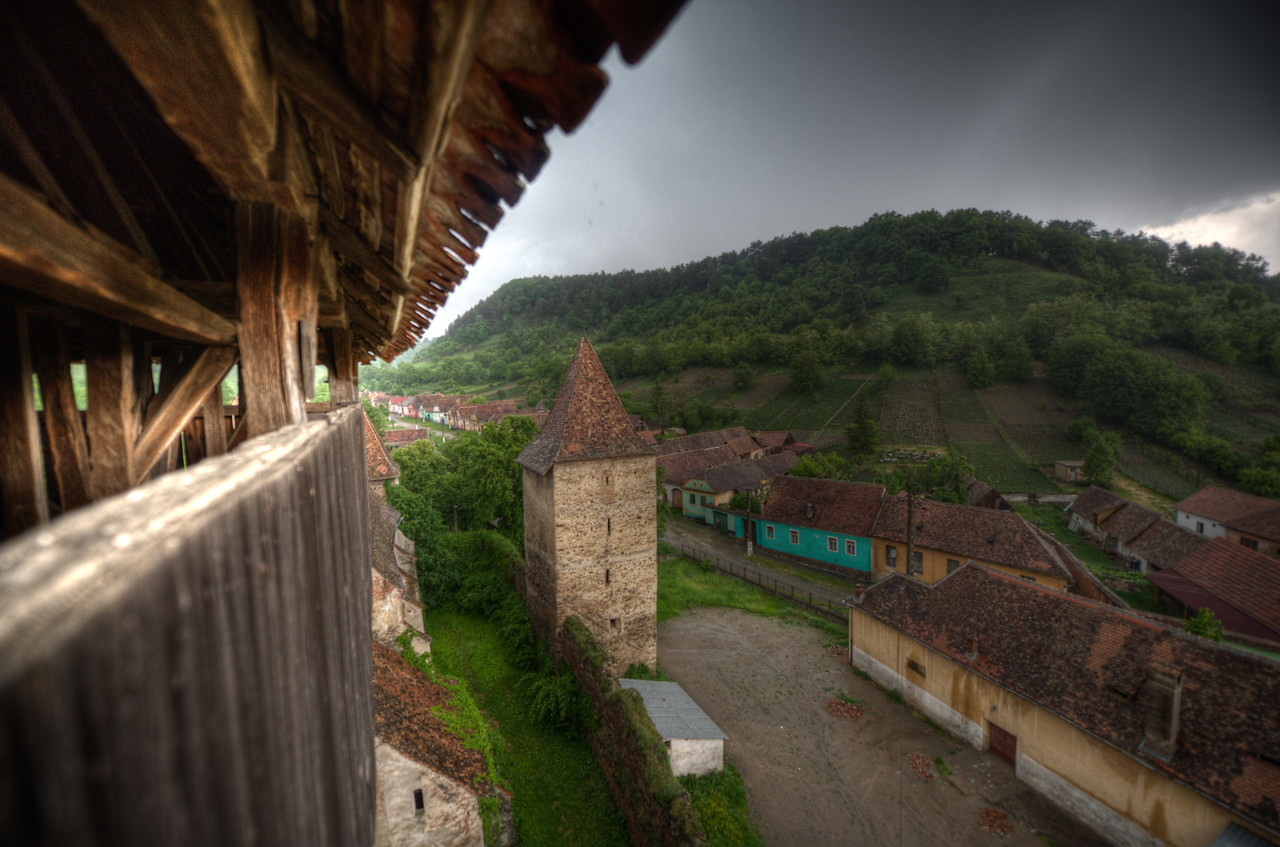 View of the village from the church tower in Transylvannia, Romania