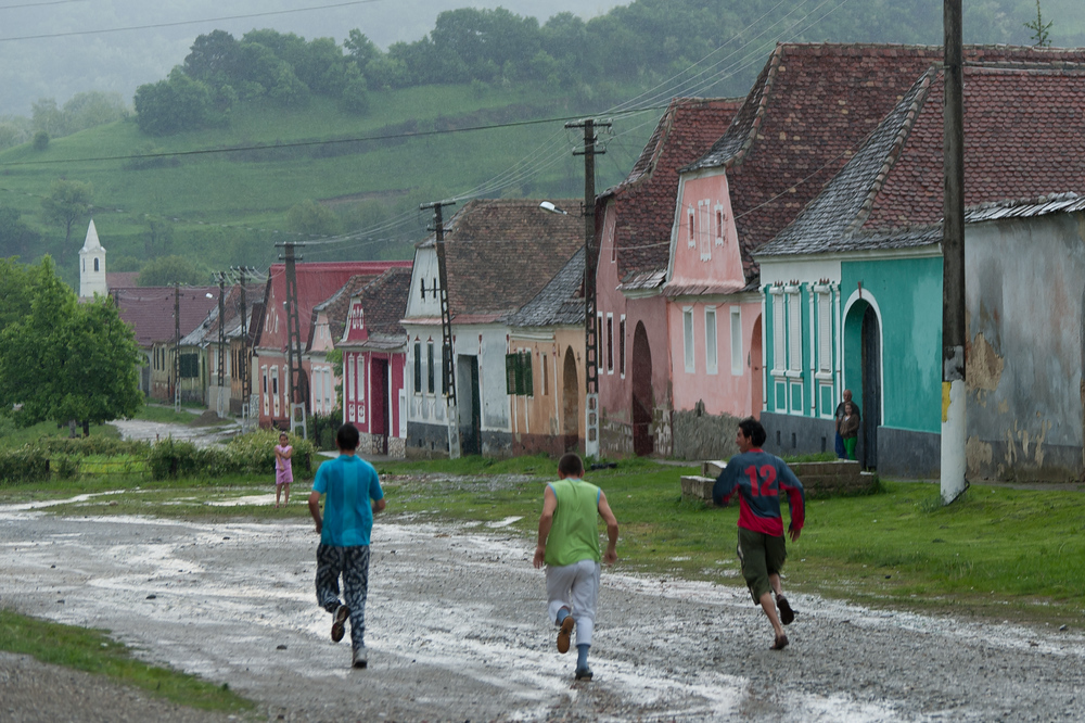 Kids playing in a Romanian Village
