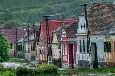 Rows of houses in Calnic, Romania