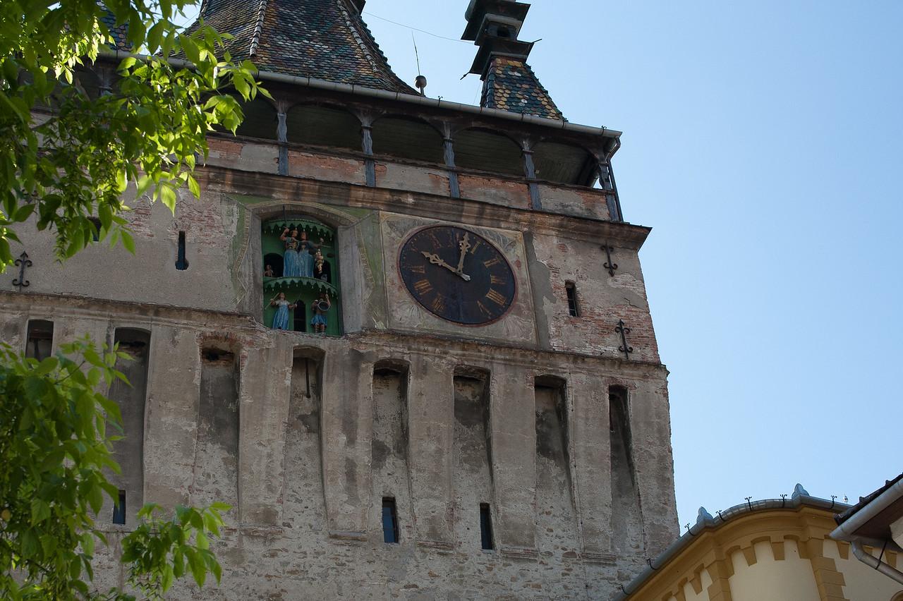 The clock tower in Sighisoara in Transylvannia, Romania
