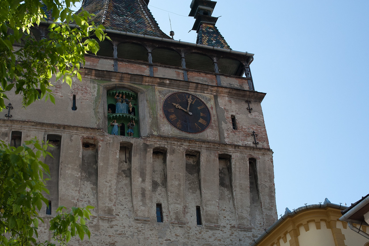 The clock tower in Sighisoara in Transylvannia, Romania