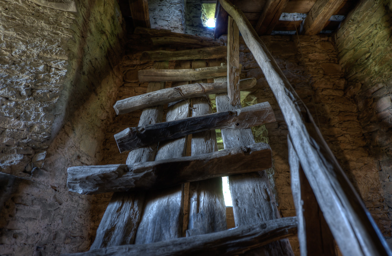 Wooden stairs inside the Calnic Fortified Church in Transylvannia, Romania