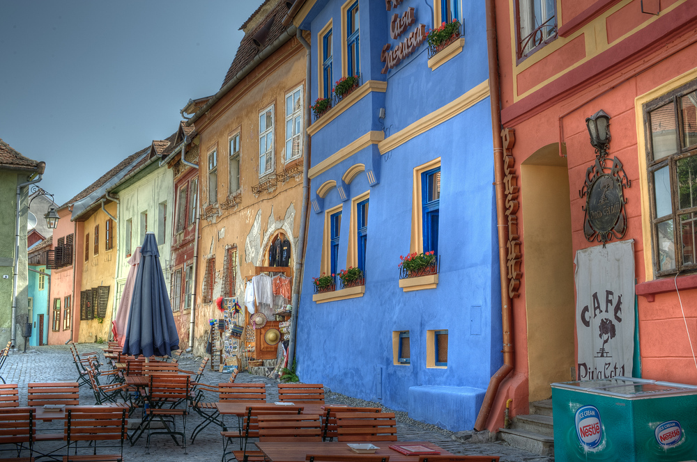 Colorful buildings in Sighisoara, Romania
