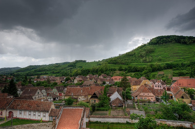 Rooftops of houses in Calnic, Romania