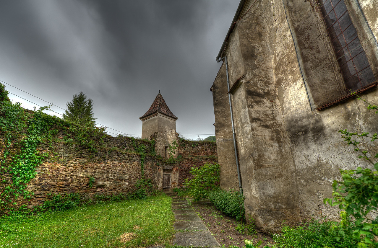 Walled fortress around Calnic Fortified Church in Romania