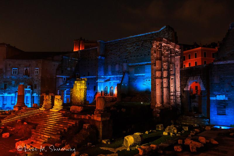 Trajan's Forum and Market at night.