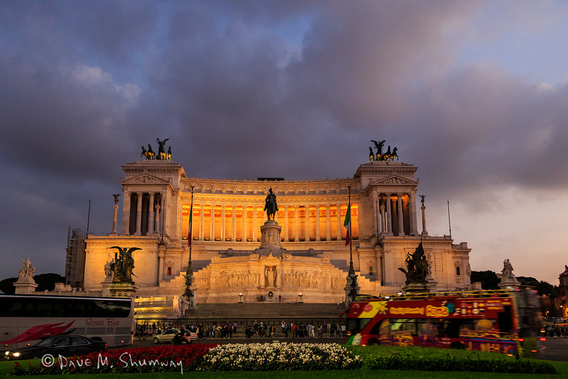 The Altare della Patria (Altar of the Fatherland), or Monumento Nazionale a Vittorio Emanuele II (National Monument to Victor Emmanuel II) as seen from the Piazza Venezia.