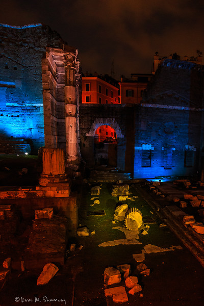 Trajan's Forum and Market at night.
