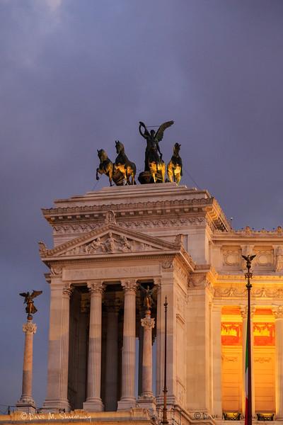 The Altare della Patria (Altar of the Fatherland), or Monumento Nazionale a Vittorio Emanuele II (National Monument to Victor Emmanuel II) as seen from the Piazza Venezia.