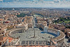 View of St. Peter's Square from St. Peter's Dome ~ elevator to one level then 333 steps up and 333 steps down ~ Whew! Worth it for the view.