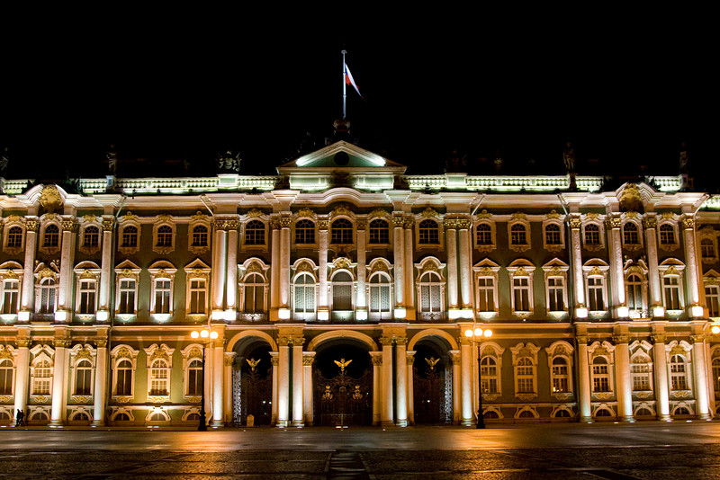 The State Hermitage Museum at night.  Built as the winter residence for the Tsars, this palace is so large that it is nearly impossible to photograph - you just can't fit it all in your viewfinder.
