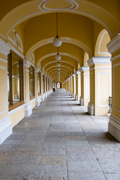An arcade along the side of Gostinyy Dvor in St. Petersburg
