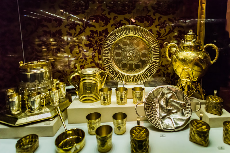 Gold serving pieces, Faberge Museum