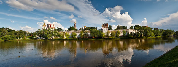 Panoramic view of the Novodevichy Convent.  (Stitched with 7 handheld vertical shots!)