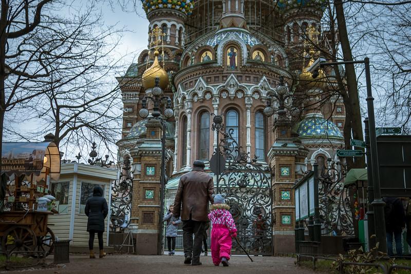 Winter street scenes in  St. Petersburg, Russia