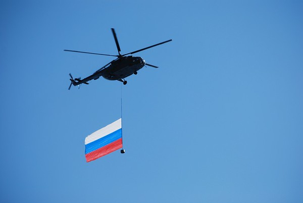 Flying the flag of Russia