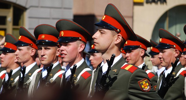 Russian troops on parade