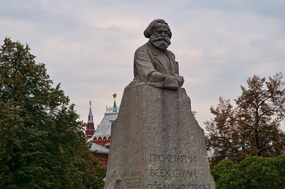 Karl Marx with the Kremlin in the background.