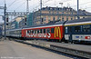 An idea which, thankfully perhaps, failed to catch on elsewhere. A McDonalds restaurant car in the consist of a train at Geneva Cornavin in August 1995.