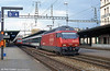 Swiss Federal Railways (SBB) class 460 020 at Geneva in August 1995. The 460 class was introduced as part of the Bahn 2000 modernisation project and locos are used both on express passenger and freight work.