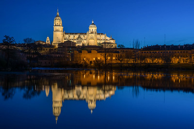 Cathedral Nueva at dawn, reflected in the River Tomes, Salamanca, Spain