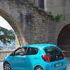 Our powder blue rental car entering the city walls - easy to find in any parking lot!