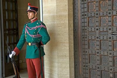 Close-up shot of San Marino guard Palazzo del Governo di San Marino