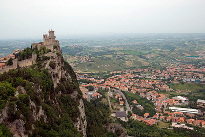 The Guaita Castle and rest of San Marino below