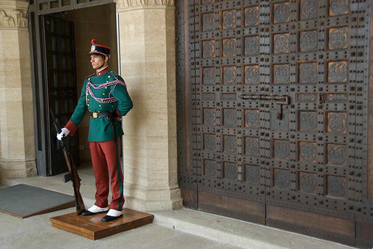 San Marino guard outside Palazzo del Governo di San Marino