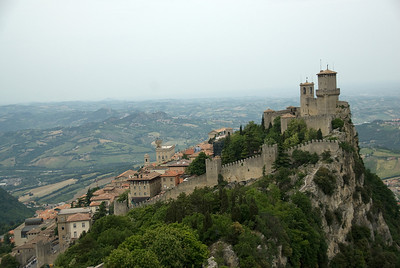 The Guaita Castle and its surrounding buildings in San Marino