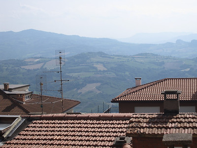 Rooftops and an overlooking view in San Marino